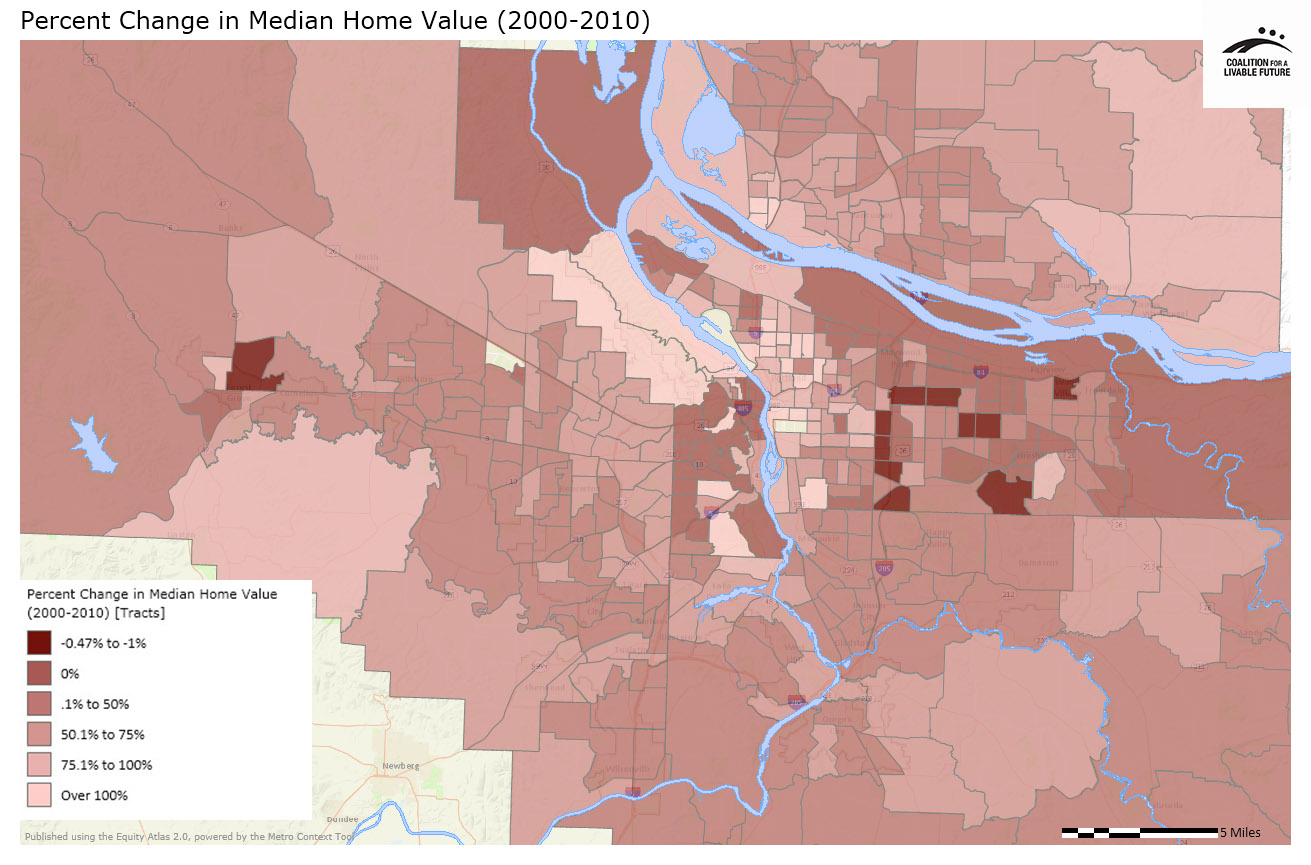 Percent Change in Median Home Value (2000-2010)