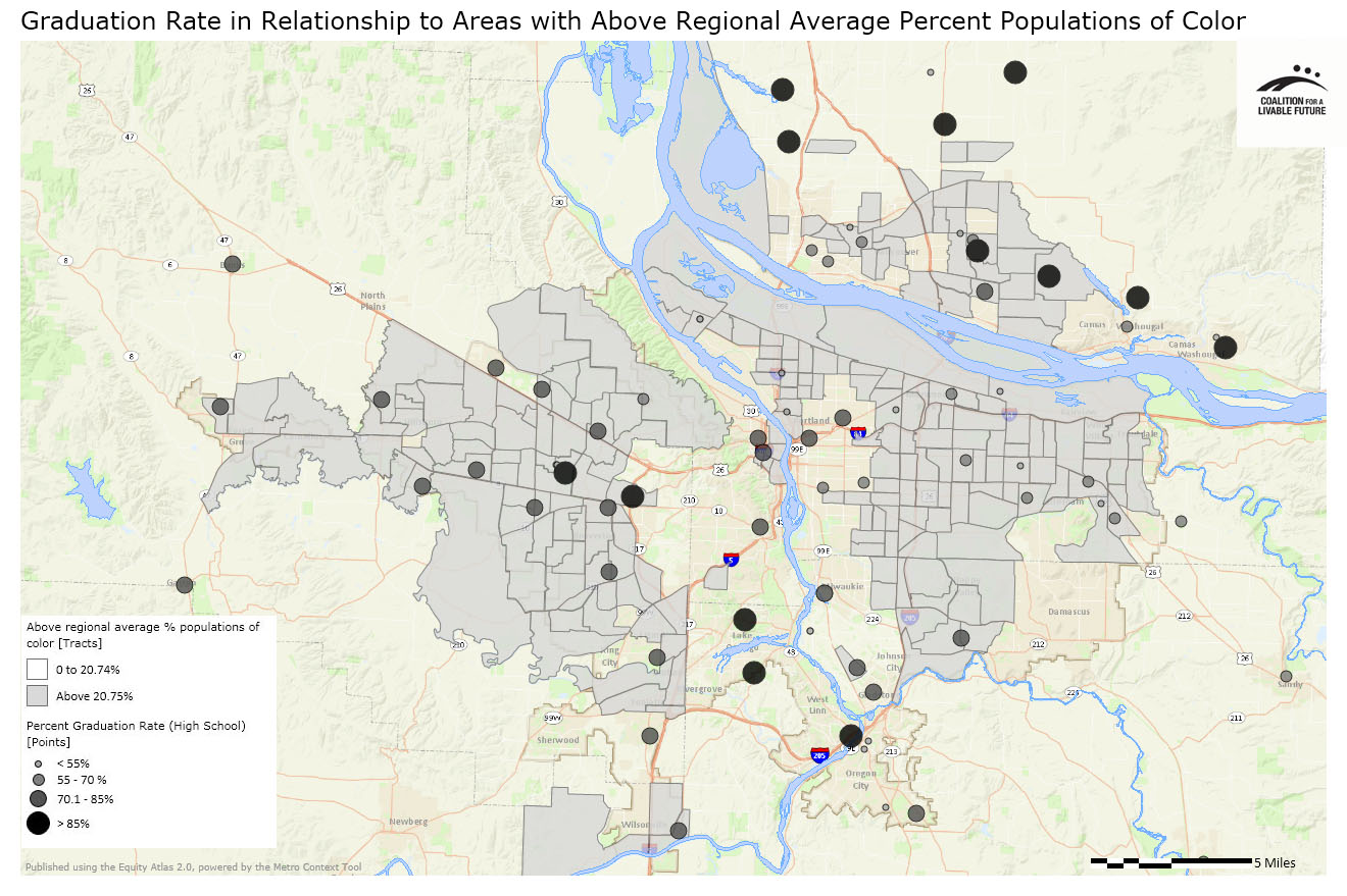 Graduation Rate in Relationship to Areas with Above Regional Average Percent Populations of Color