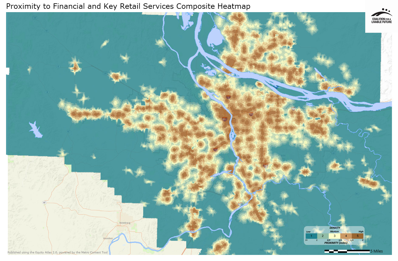 Proximity to Financial and Key Retail Services Composite Heatmap