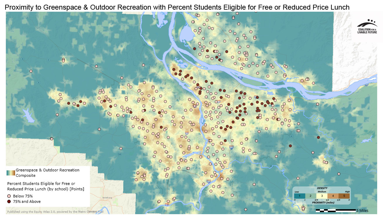 Proximity to Greenspace & Outdoor Recreation in Relationship to Percent Students Eligible for Free or Reduced Price Lunch