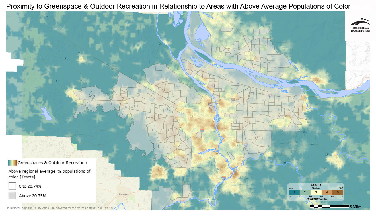 Proximity to Greenspace & Outdoor Recreation in Relationship to Areas with Above Regional Average Percent Populations of Color