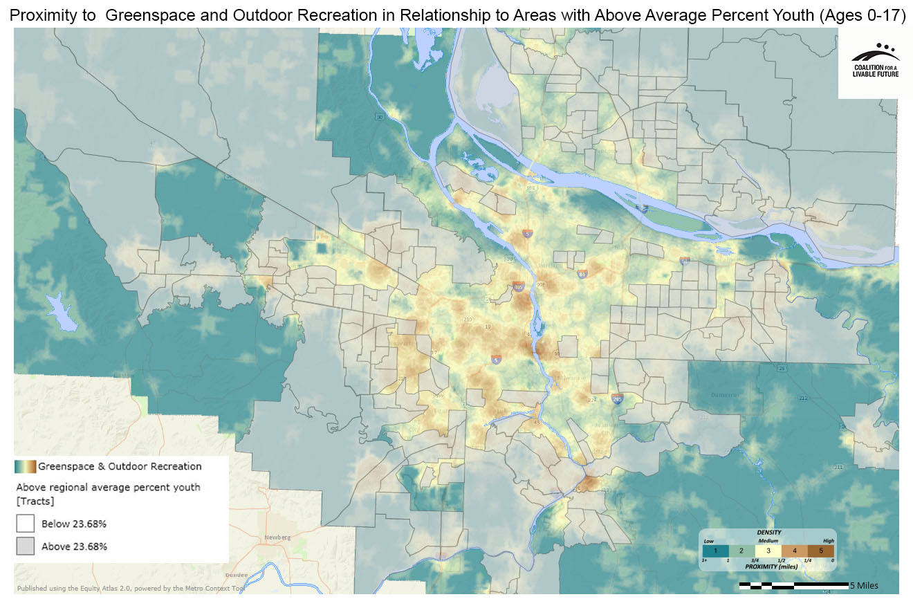 Proximity to Greenspace & Outdoor Recreation in Relationship to Areas with Above Regional Average Percent Youth (Ages 0-17)