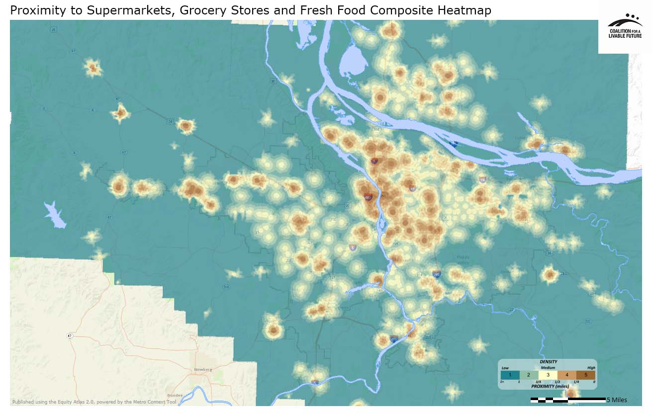 Proximity to Supermarkets, Grocery Stores and Fresh Food Composite Heatmap