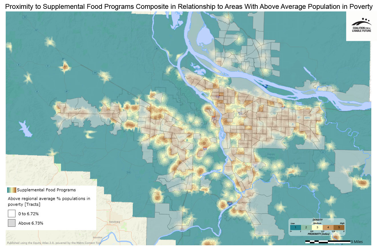 Proximity to Supplemental Food Programs (Food Pantries and SNAP) in Relationship to Areas with Above Regional Average Percent Populations in Poverty