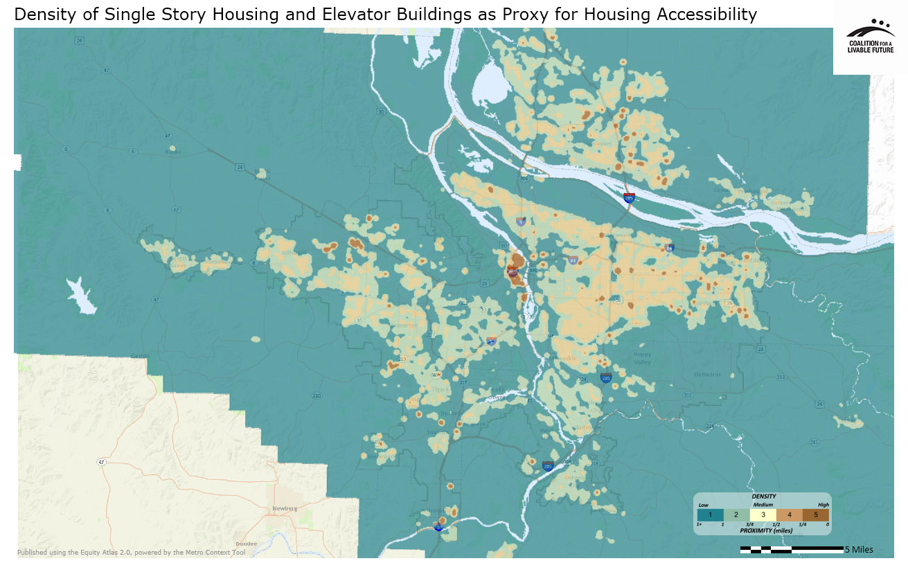 Density of Single Story Housing and Elevator Buildings as Proxy for Housing Accessibility