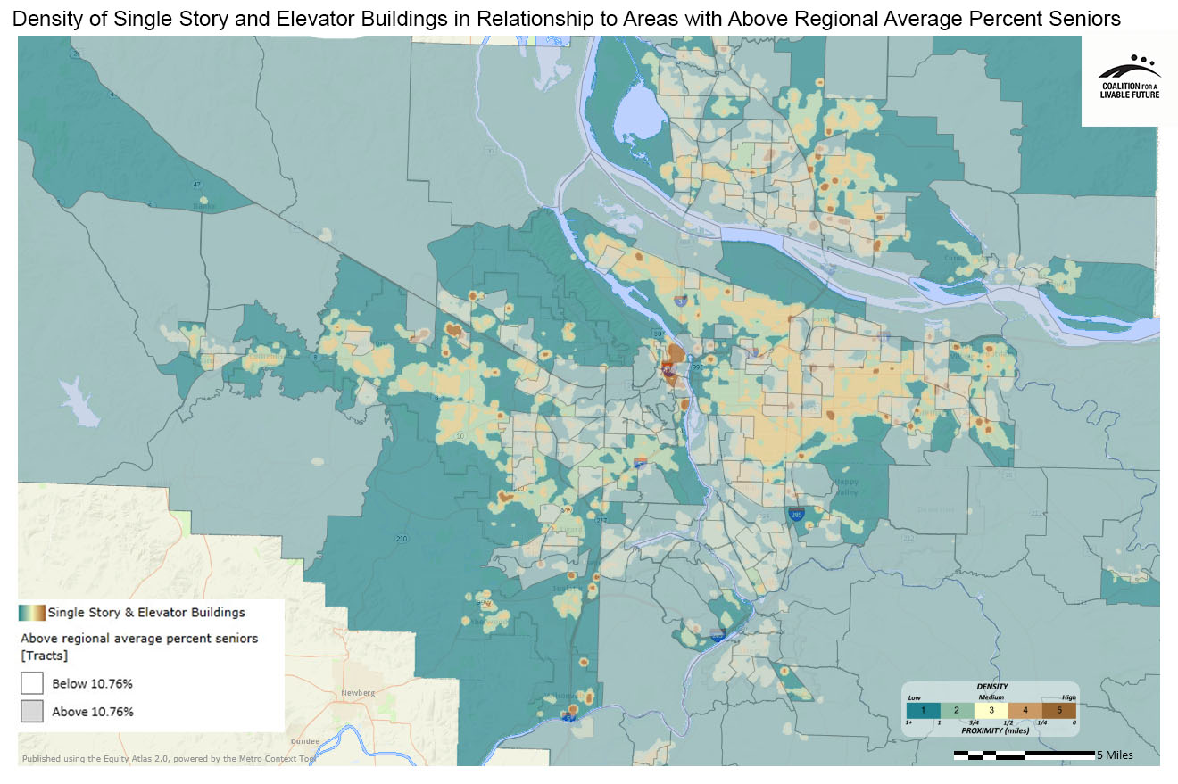 Density of Single Story Housing and Elevator Buildings in Relationship to Areas with Above Regional Average Percent Seniors (Ages 65+)