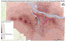 Air Quality in Relationship to Percent Students Eligible for Free or Reduced Price Lunch, Freeways and Arterial Streets