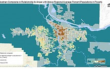 Pedestrian Composite in Relationship to Areas with Above Regional Average Percent Populations in Poverty