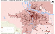 Transit Access in Relationship to Schools with 75% or More of Students Eligible for Free and Reduced Price Lunch