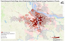 Transit Access to Family Wage Jobs in Relationship to Areas with Above Regional Average Percent Populations in Poverty