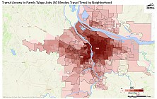 Transit Access to Family Wage Jobs (60 Minutes Travel Time) by Neighborhood